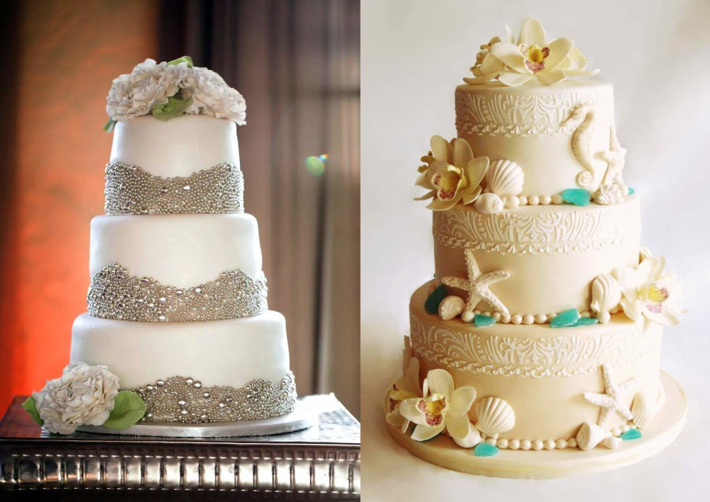 Multi-tier custom wedding cakes